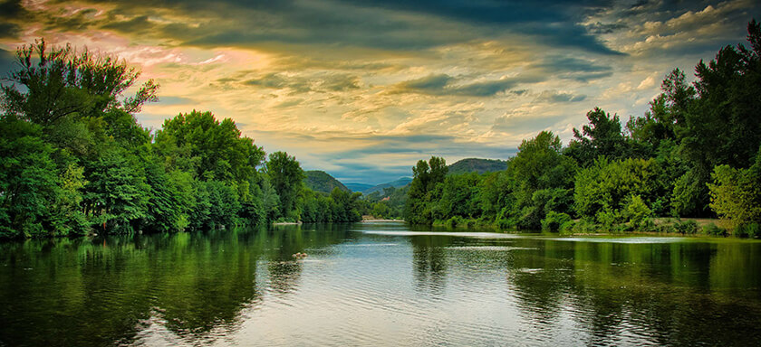 Evening view from a river barge in France
