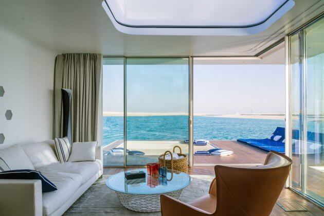 View from the living room of luxury houseboat in Dubai