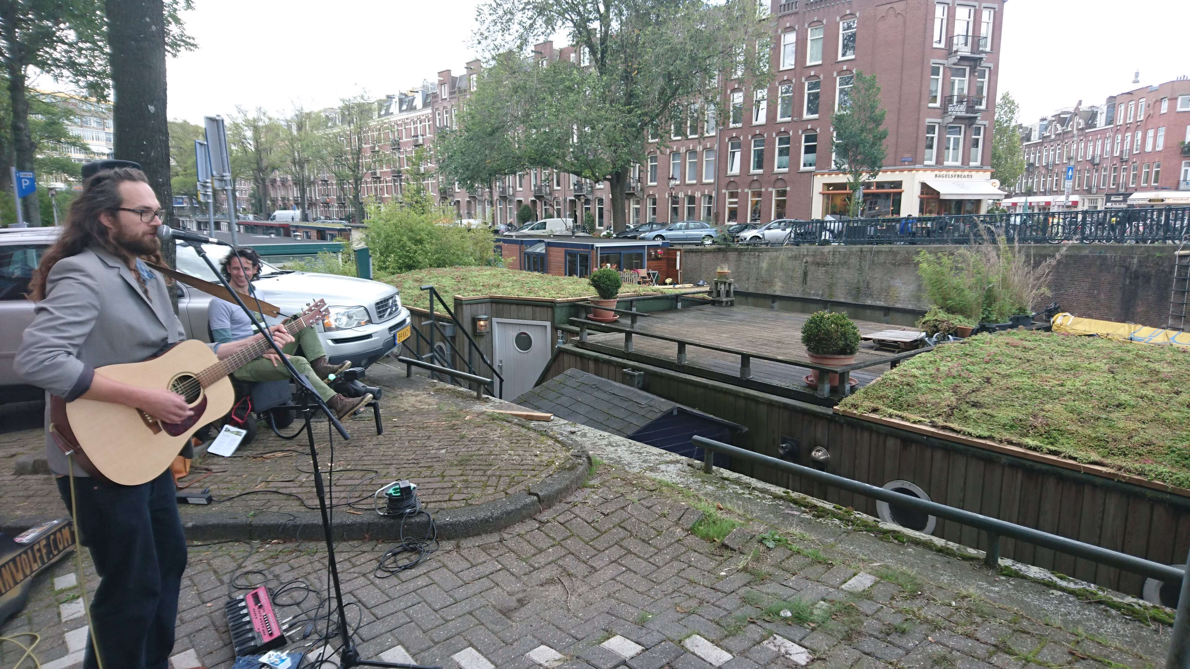 Green rooftop houseboat Amsterdam