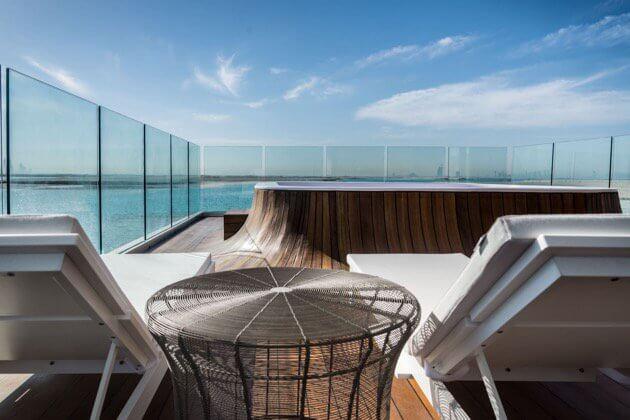Hot tub on roof of luxury Dubai houseboat
