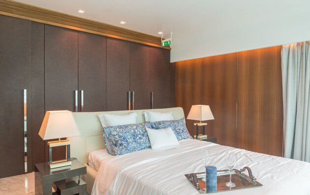 Master bedroom of the luxurious Dubai houseboat