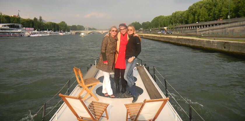 People on a barge cruise in France