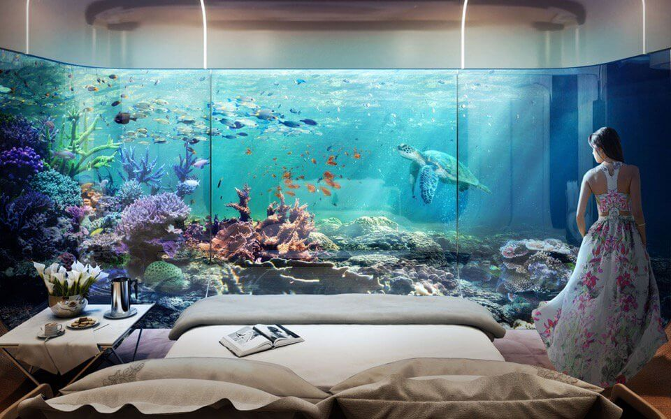 The bedroom with coral reef view